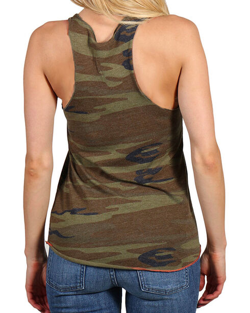 Bohemian Cowgirl Women's Camo and Americana Heart Tank , Camouflage, hi-res