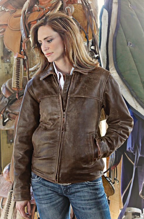 STS Ranchwear Women's Rifleman Brown Leather Jacket, Brown, hi-res