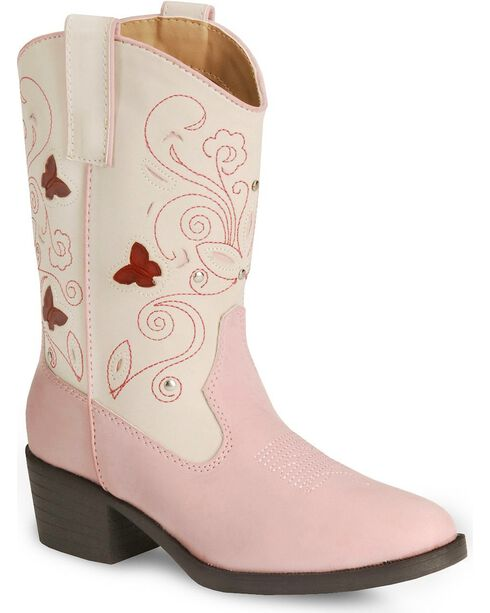 Roper Girls' Butterfly Light Cowgirl Boot - Round Toe, Pink, hi-res