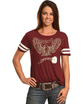 Shyanne Women's America Land of the Free Football Tee, Burgundy, hi-res