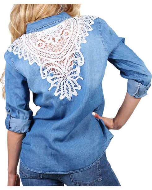 Henna Women's Crochet Back Long Sleeve Western Shirt, Blue, hi-res