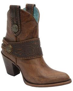 Corral Engraved Harness Short Boots - Medium Toe, Tan, hi-res