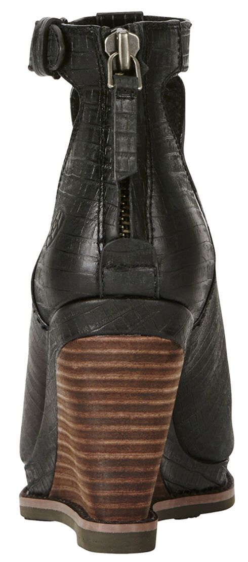 Ariat Women's Black Lizard Print Backstage Peep-Toe Wedges, , hi-res