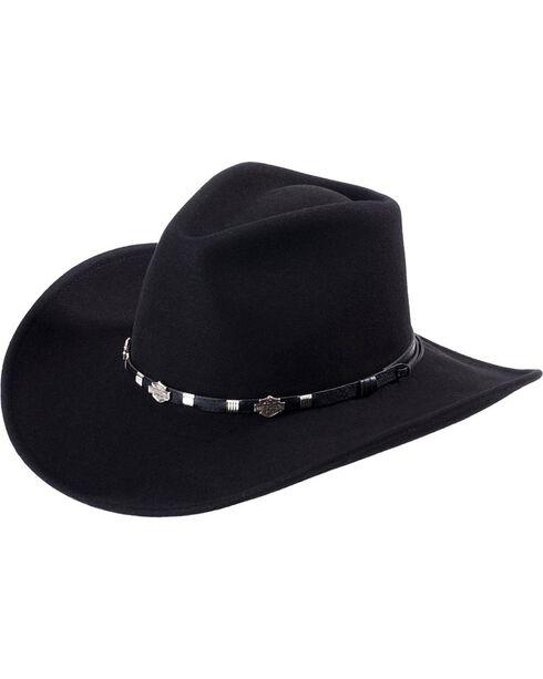Harley Davidson Wool Cowboy Hat, Black, hi-res