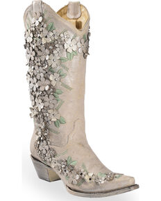 Corral Womens White Fl Overlay Embroidered Stud And Crystals Cow Boots Snip Toe