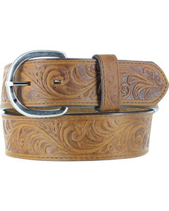 Cody James® Men's Floral Tooled Belt, Brown, hi-res