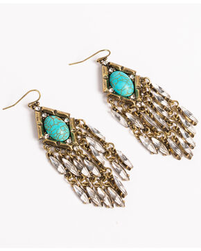 Shyanne Women's Turquoise Crystal Chandelier Earrings, Gold, hi-res