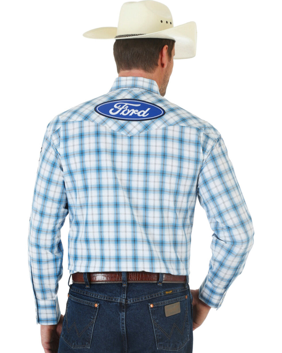 Wrangler Ford Blue Plaid Shirt, White, hi-res