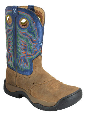 Twisted X Camel and Blue All Around Cowboy Boots - Round Toe, Camel, hi-res