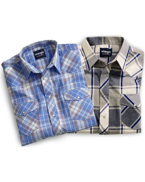 Wrangler Short Sleeve Assorted Stripe or Plaid Western Shirts, Plaid, hi-res