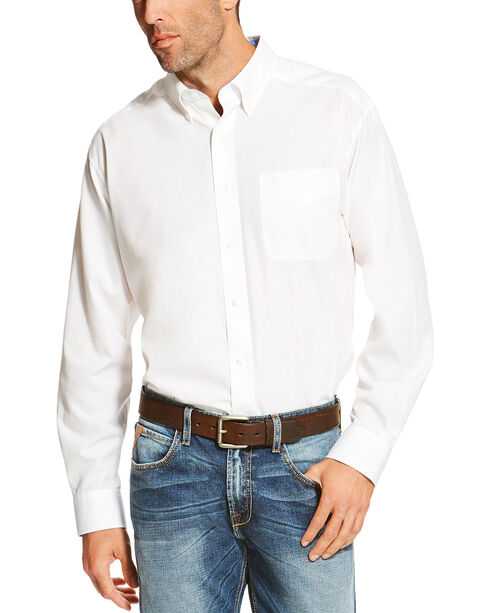 Ariat Men's White Winkle Free Button Down Shirt , White, hi-res