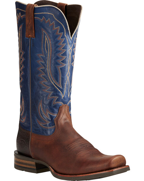 Ariat Men's Palo Duro Brown/Blue Cowboy Boots - Square Toe, Brown, hi-res