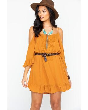 Sage the Label Women's Crochet Bib Cold Shoulder Dress, Dark Yellow, hi-res