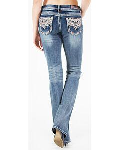 Grace in LA Women's Medium Blue Tribal Pocket Jeans - Boot Cut , Medium Blue, hi-res