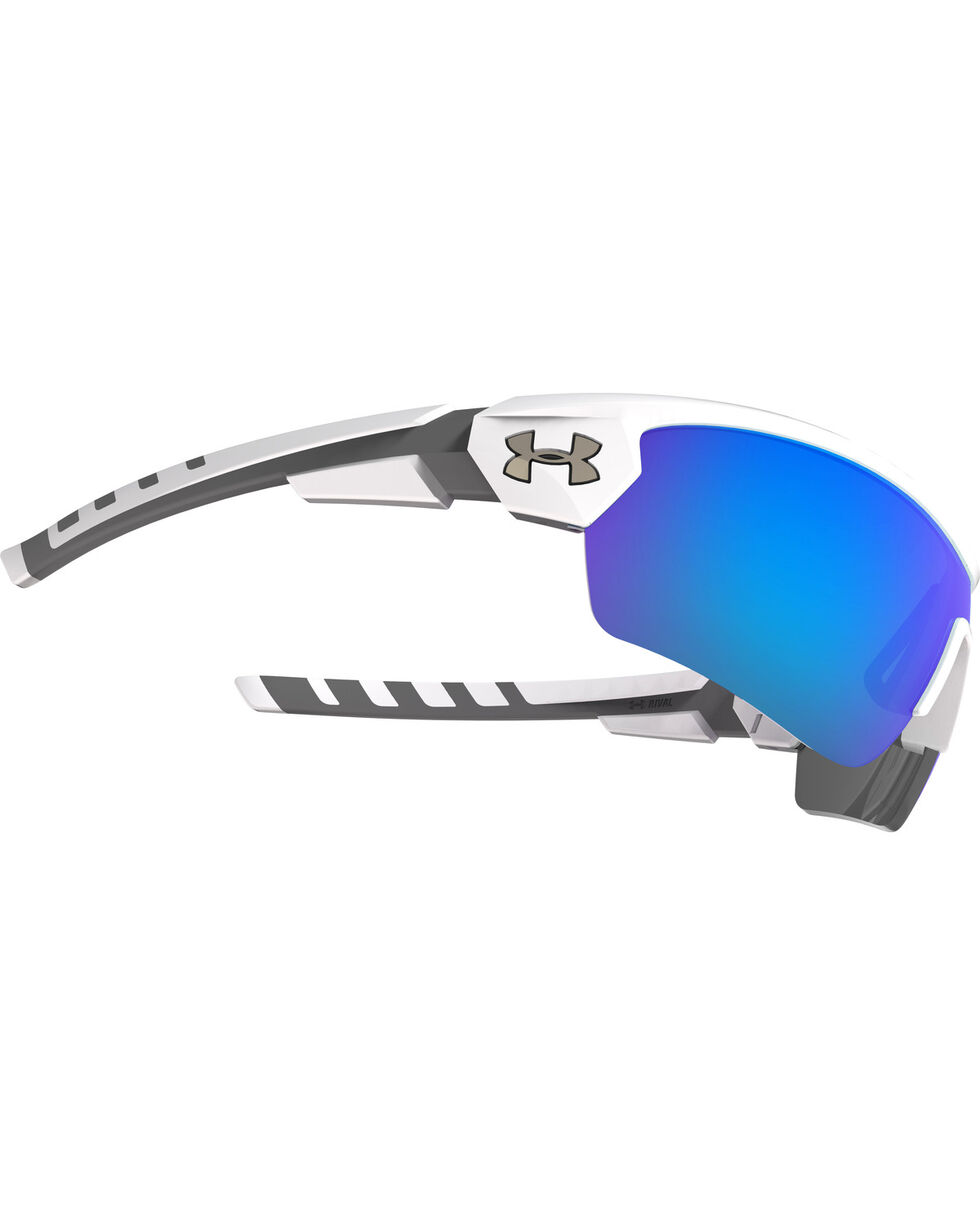 Under Armour Rival Satin White Blue Lens Sunglasses , White, hi-res