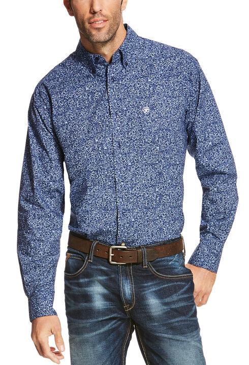 Ariat Men's Blue Rocklin Print Long Sleeve Shirt - Big and Tall , Blue, hi-res