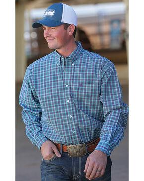 Cinch Men's Turquoise Plaid Long Sleeve Button Down Shirt, Turquoise, hi-res