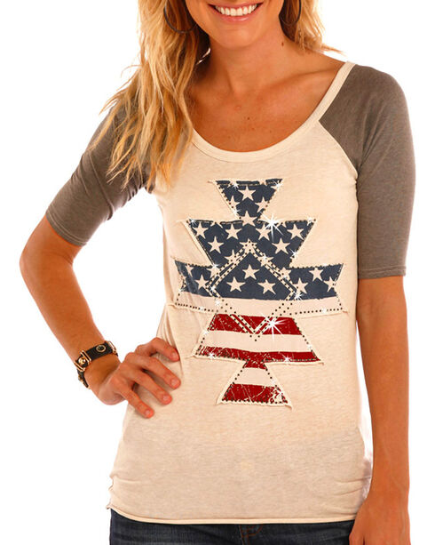 Rock & Roll Cowgirl Women's Ivory Stars and Stripes Applique Shirt , Ivory, hi-res