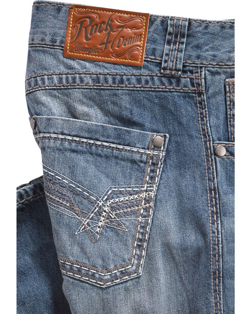 Wrangler Rock 47 Men's Relaxed Medium Dark Stonewash Jeans - Boot Cut, Light Blue, hi-res