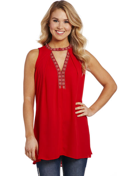Cowgirl Up Women's Red V-Neck Detailed Tunic , Red, hi-res