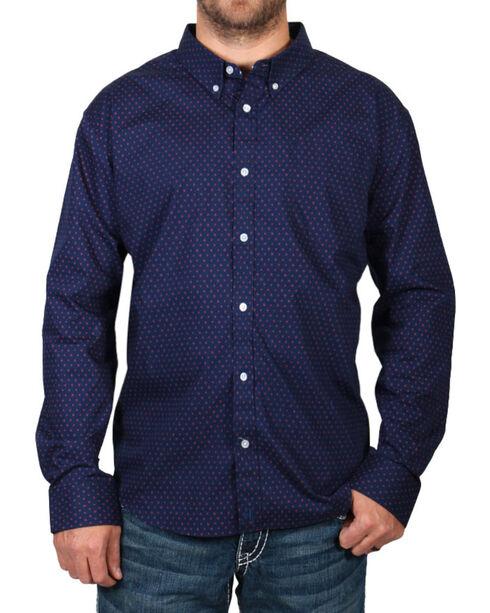 Cody James Men's Navy Dot Patterned Long Sleeve Shirt - Big, Navy, hi-res