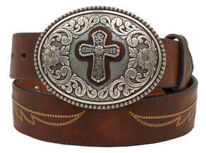 Ariat Cross Buckle Western Belt, Brown, hi-res