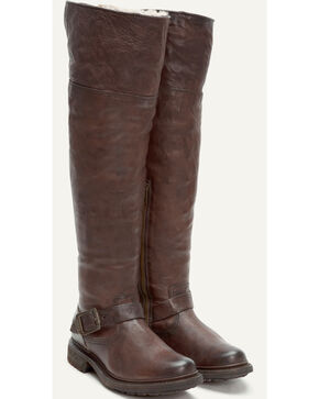 Frye Women's Dark Brown Valerie OTK Shearling Tall Boots - Round Toe , Dark Brown, hi-res