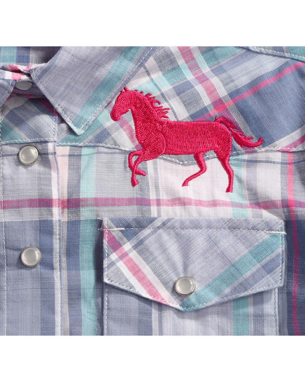 Shyanne Girls' Plaid Long Sleeve Shirt, Blue, hi-res