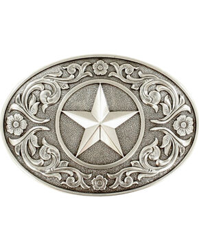 Nocona Silver Texas Star Belt Buckle , Silver, hi-res
