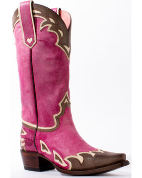 Junk Gypsy by Lane Women's Pink Back 40 Western Boots - Snip Toe, Pink, hi-res