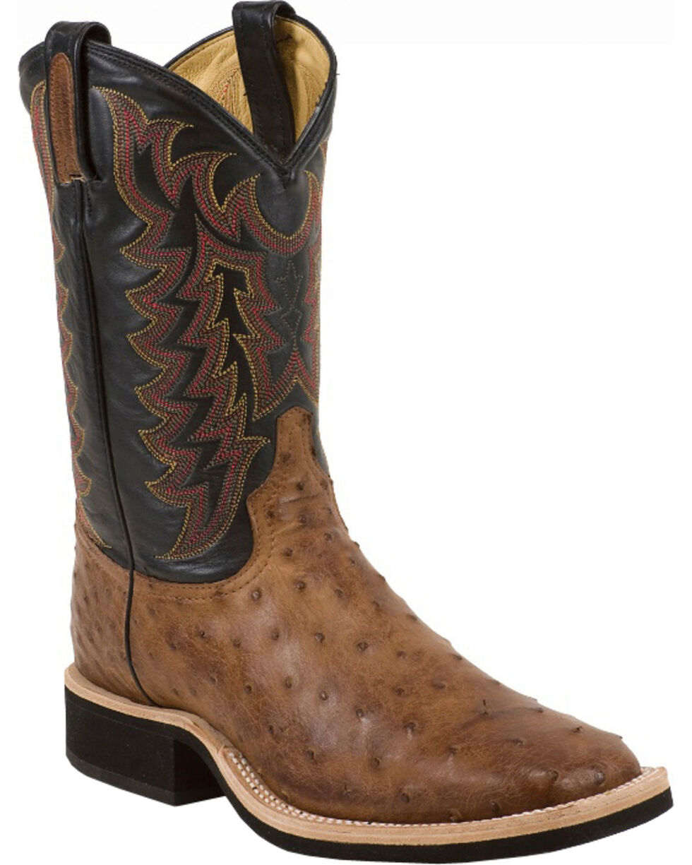 Tony Lama Thoroughbred Vintage Full Quill Ostrich Cowboy Boots - Square Toe, Dark Brown, hi-res