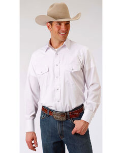 Roper Men's White Tone On Tone Solid Snap Shirt - Big & Tall, White, hi-res
