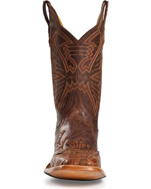 Cinch Classic Caiman Wingtip Cowboy Boots - Square Toe, Chocolate, hi-res