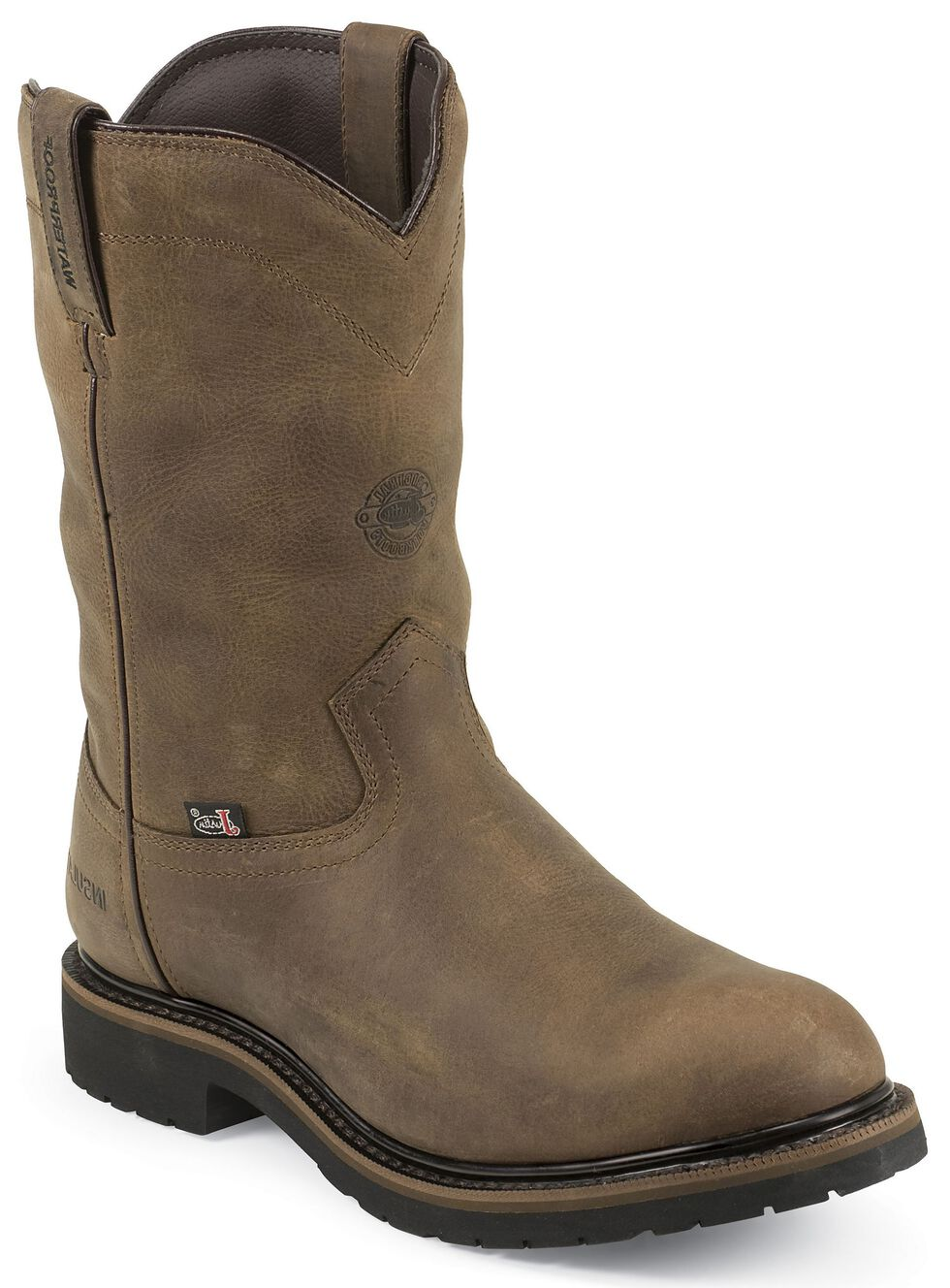 Justin Men's Drywall Insulated Waterproof Work Boots - Soft Toe, Brown, hi-res