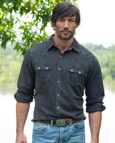 Ryan Michael Men's Night Black Embroidered Silk Linen Shirt ...