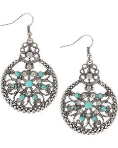 Shyanne Women's Vintage Medallion Earrings, Silver, hi-res