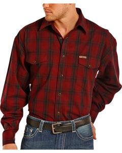 Powder River by Panhandle Men's Plaid Snap Flannel Shirt, Wine, hi-res