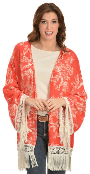 Black Swan Women's Sarah Fringed Cardigan, Orange, hi-res