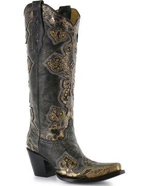 Corral Women's Black & Gold Cross Overlay Boots - Snip Toe, Black, hi-res