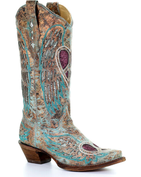 Corral Women's Turquoise Angel Wing Peace Heart Cowgirl Boots - Snip Toe , , hi-res