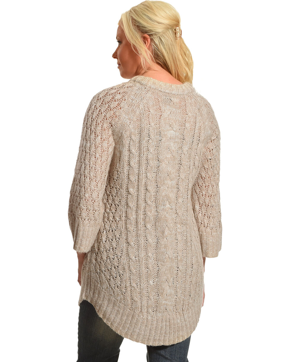 Allison Brittney Women's Cable Knit Sweater, Cream, hi-res