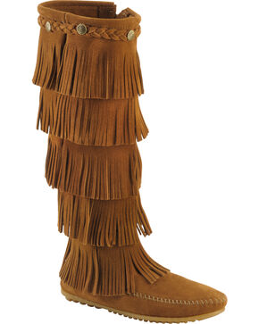 Minnetonka Fringed Suede Leather Boots, Brown, hi-res