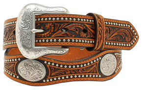 Nocona Scalloped Tooled Concho Belt, Black, hi-res