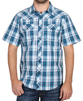 Cody James Men's Blue Plaid Short Sleeve Shirt, Blue, hi-res