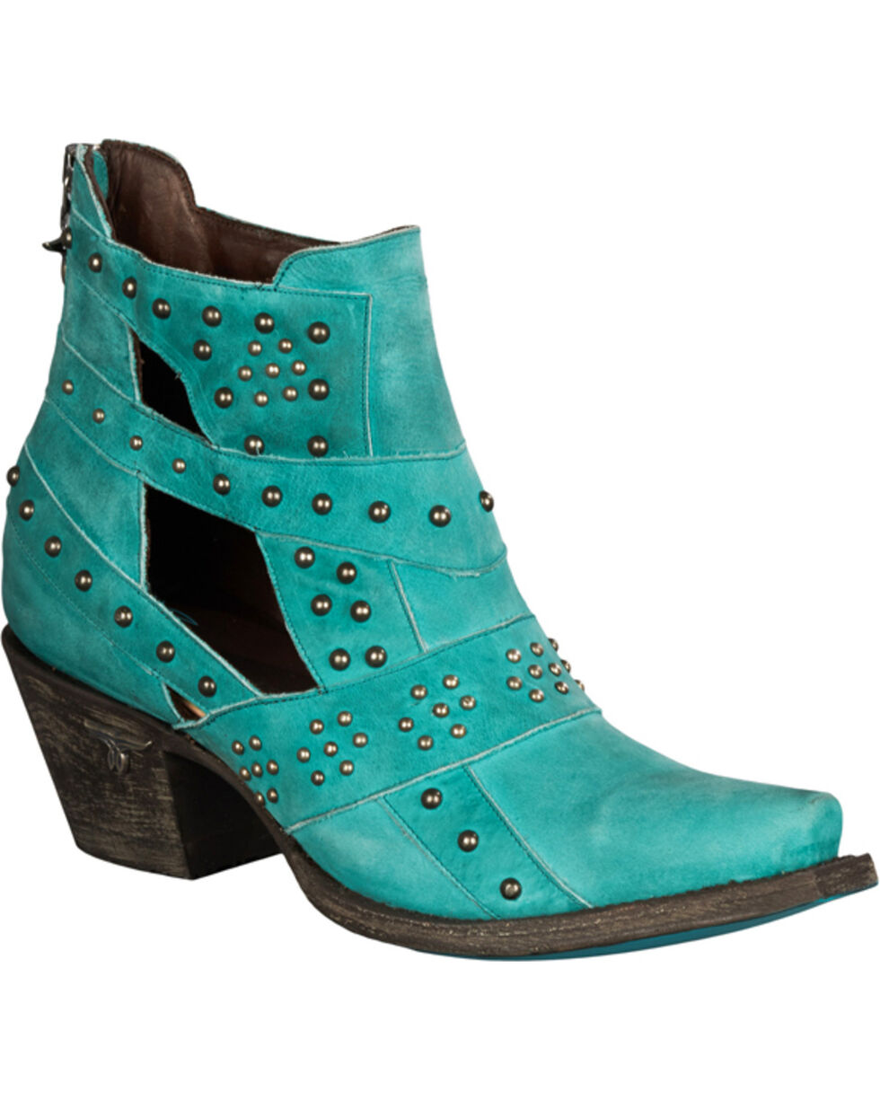 Lane Women's Turquoise Studs & Straps Fashion Boots - Snip Toe , Turquoise, hi-res