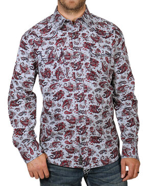 Moonshine Spirit Men's Paisley Patterned Long Sleeve Shirt, Grey, hi-res
