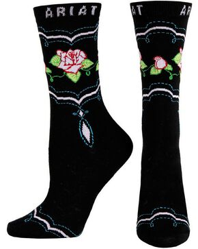 Ariat Rose Crew Socks, Black, hi-res