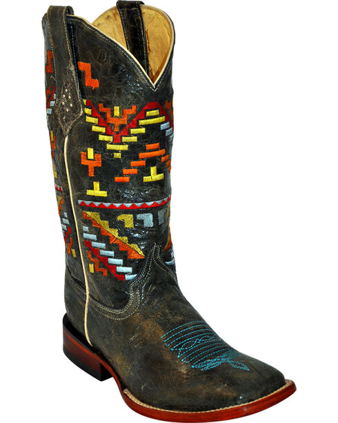Ferrini Aztec Pattern Cowgirl Boots - Square Toe, Teal, hi-res