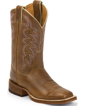 Justin Bent Rail Cognac Tan American Cowgirl Boots - Square Toe, Tan, hi-res