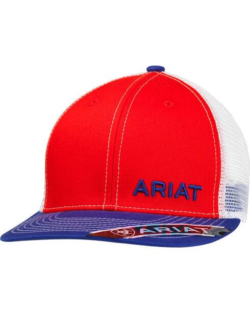 Ariat Men's White Mesh Logo Cap, Red, hi-res